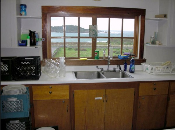 The kitchen not only has terrific food preparation facilities, but it has a glorious view as well.
