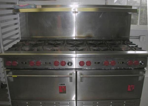 Two large six-burner stoves